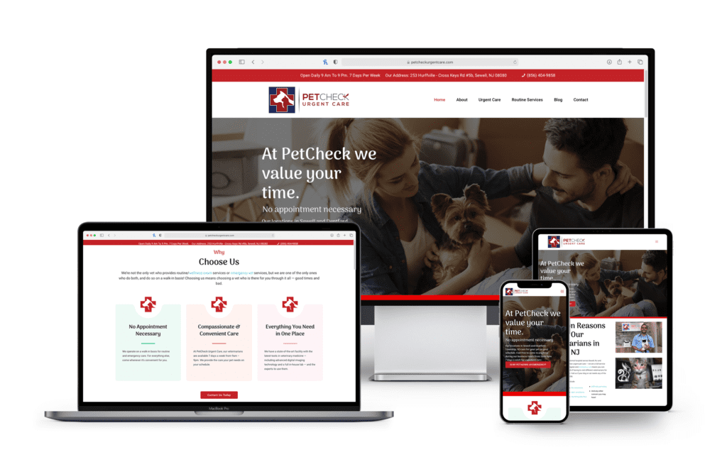 New Jersey Multimedia • Petcheck Urgent Care • Website Design